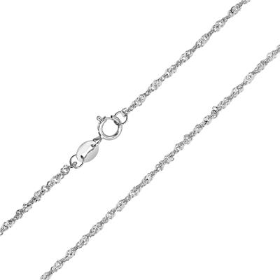 10K White Gold 1.5mm Singapore Rope Chain with Spring Ring Clasp - 18 Inch