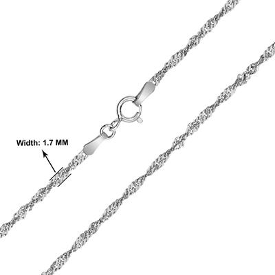 10K White Gold 1.7mm Singapore Rope Chain with Spring Ring Clasp - 18 Inch