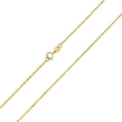 10K Yellow Gold 1MM Singapore 18 Inch Chain with Spring Ring Clasp