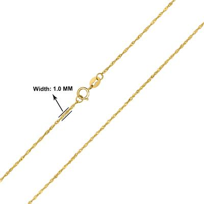 10K Yellow Gold 1MM Singapore Chain with Spring Ring Clasp - 18 Inch