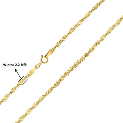 10K Yellow Gold 2.2mm Singapore Chain with Spring Ring Clasp - 20 Inch