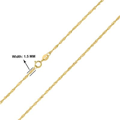 10K Yellow Gold 1.5mm Singapore Chain with Spring Ring Clasp - 24 Inch