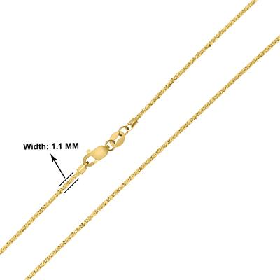 10K Yellow Gold 1.1mm Sparkle Chain with Lobster Clasp - 20 Inch