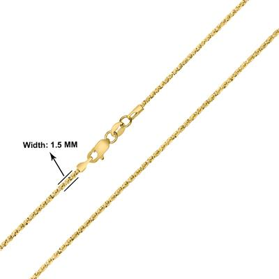 10K Yellow Gold 1.5MM Sparkle Chain with Lobster Clasp - 18 Inch