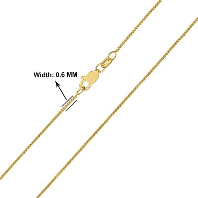 10K Yellow Gold 0.6mm Round Wheat Chain with Lobster Clasp - 18 Inch