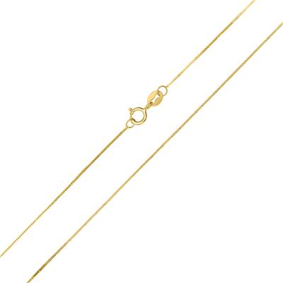 10K Yellow Gold 0.45MM Shiny Box Chain with Spring Ring Clasp - 18 Inch