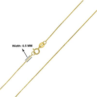 10K Yellow Gold 0.5MM Flat Cable Chain with Spring Ring Clasp - 18 Inch