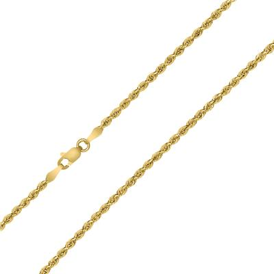 10K Yellow Gold 2MM Sparkle Rope Chain With Lobster Clasp - 24 Inch