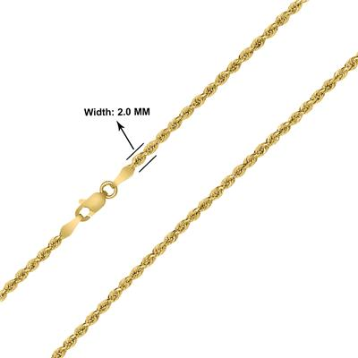 10K Yellow Gold 2MM Sparkle Rope Chain With Lobster Clasp - 22 Inch