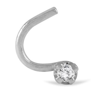 0.01 Carat Diamond Nose Ring Hook in 14K white Gold