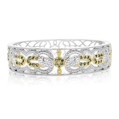 Two Tone Cathedral 1 Carat Emerald Bangle Bracelet