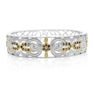 Two Tone Cathedral 1 Carat Sapphire Bangle Bracelet