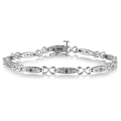 1/5 Carat Natural Blue Diamond I Love You Bracelet in .925 Sterling Silver