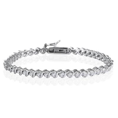 1/4 Carat Diamond S Link Bracelet in .925 Sterling Silver