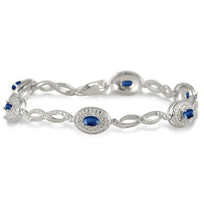 1.62 Carat Genuine Sapphire and Diamond Bracelet in .925 Sterling Silver