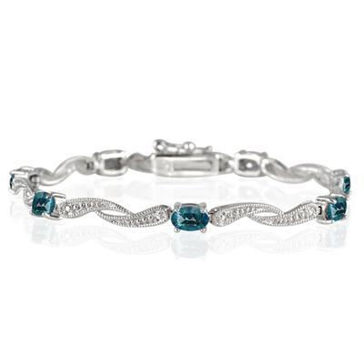 4.00 Carat London Blue Topaz and Diamond Bracelet in .925 Sterling Silver