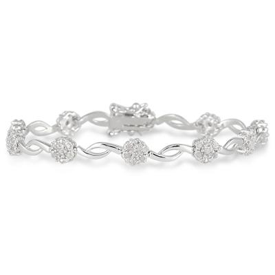 1/2 Carat TW Diamond Flower Cluster Bracelet in .925 Sterling Silver
