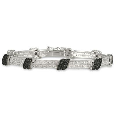 3/4 Carat TW Black and White Diamond Bracelet in .925 Sterling Silver
