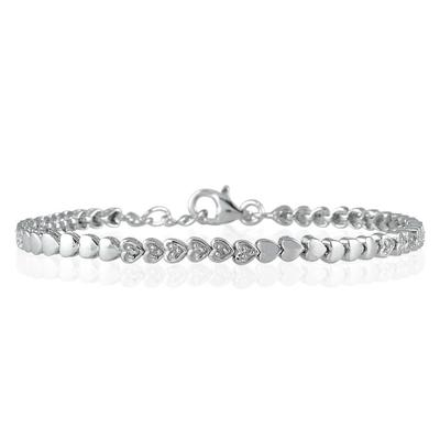 1/4 CTW Diamond Heart Link Bracelet in .925 Sterling Silver