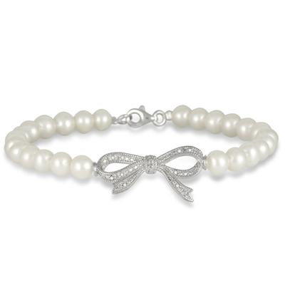 Freshwater White Cultured Pearl and Diamond Ribbon Bracelet in .925 Sterling Silver