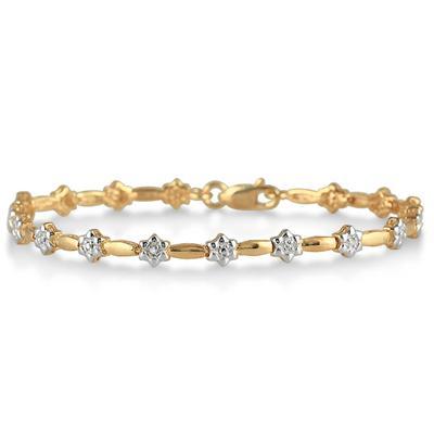 18K Gold Plated Diamond Bud Bracelet in .925 Sterling Silver