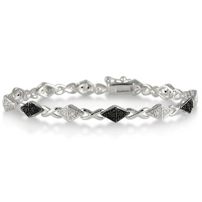 1/4 Carat Black and White Diamond Hugs and Kisses Bracelet in .925 Sterling Silver