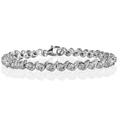 1/4 Carat Diamond S-Link Bracelet in Rhodium Plated Brass