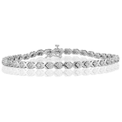 1 Carat TW Diamond X Bracelet in 14k White Gold