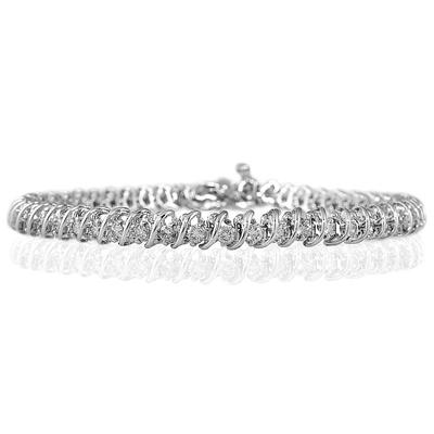 2 Carat TW Diamond Swirl Bracelet in 14K white Gold