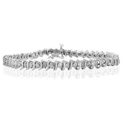 2 Carat Diamond S- Link Bracelet in 14k White Gold