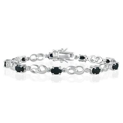 2.25 Carat Genuine Sapphire and Diamond Infinity Bracelet in .925 Sterling Silver