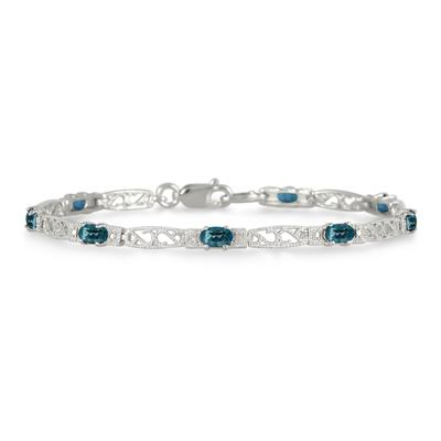2 Carat All Natural Mystic Topaz and Diamond Bracelet in .925 Sterling Silver