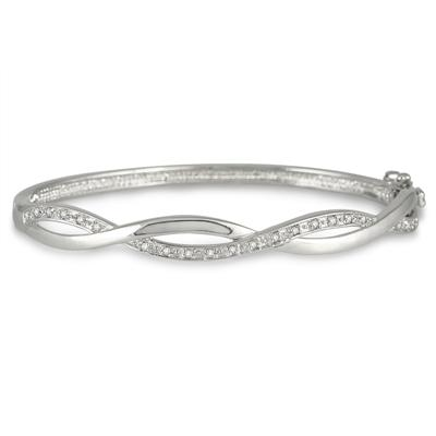 1/4 Carat Diamond Bangle in .925 Sterling Silver