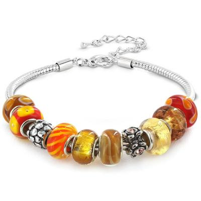 Hand Blown Fall Special Amber Glass Bead and Crystal Charm Bracelet in Plated Sterling Silver