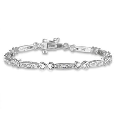 1/5 Carat Diamond I Love You Bracelet in .925 Sterling Silver