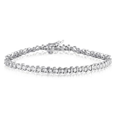 1/2 Carat Genuine Diamond S link Tennis Bracelet in .925 Sterling Silver