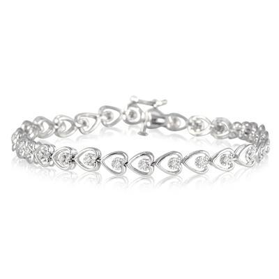 1/3 Carat Diamond Heart Link Bracelet in .925 Sterling Silver