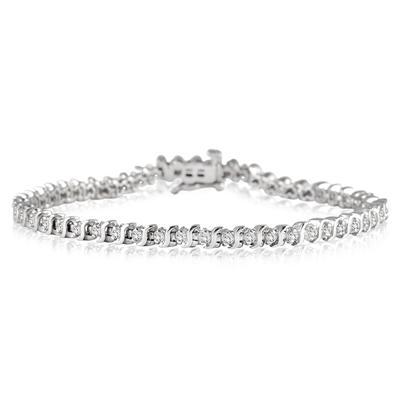 1.00 Carat Genuine Diamond S Link Tennis Bracelet in .925 Sterling Silver