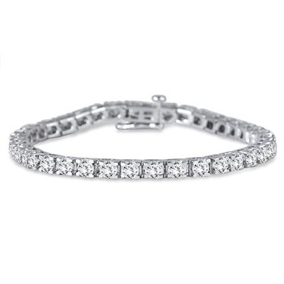 AGS Certified 7 Carat TW Diamond Tennis Bracelet in 14K White Gold