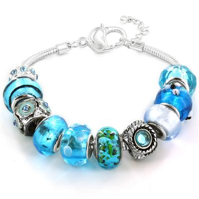 Winter Blue Hand Blown Glass Bead Bracelet