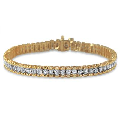 1 Carat Diamond Tennis Bracelet in 18K Yellow Gold Plated Sterling Silver