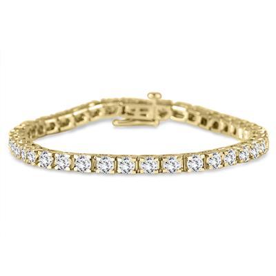 AGS Certified 7 Carat TW Diamond Tennis Bracelet in 14K Yellow Gold