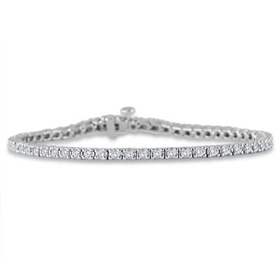 AGS Certified 2 Carat TW Classic Diamond Tennis Bracelet in 10K White Gold