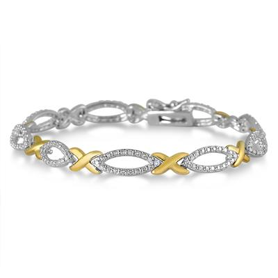 Diamond Hugs and Kisses Bracelet in 18K Gold Plated Brass