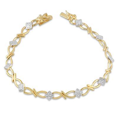 Diamond Accent Bracelet in 18K Plated Brass