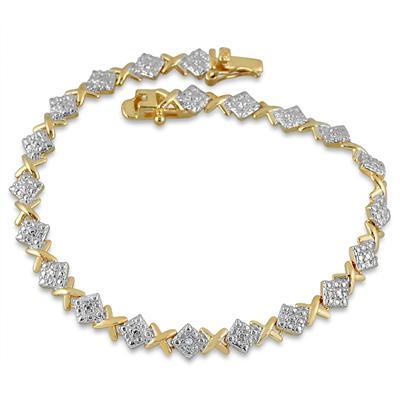 Diamond Bracelet in 18K Gold Plated Brass