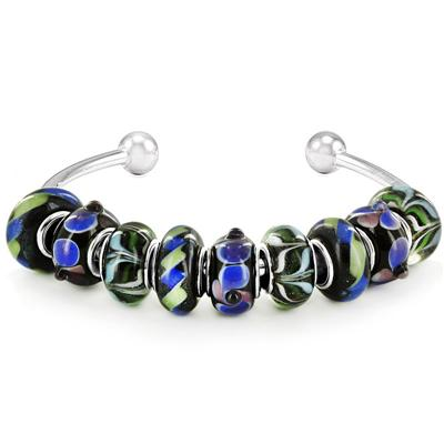 Hand Blown Multicolor Glass Bead Sterlign Plated Bangle