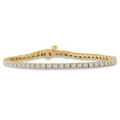 AGS Certified 2 Carat TW Classic Diamond Tennis Bracelet in 10K Yellow Gold