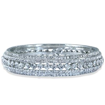 White Crystal Estate Bangle Bracelet