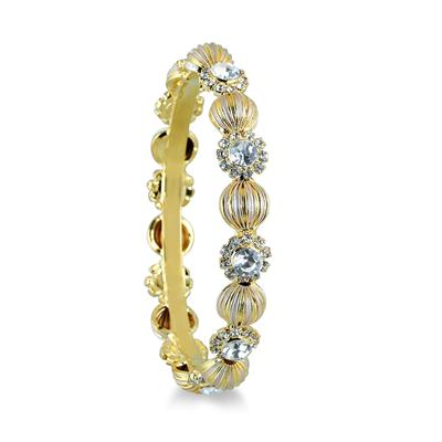 Gold Plated White Crystal Bangle Bracelet